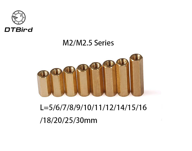 100pcs Thread M2 M2.5 Hex Brass Standoff spacer Female Spacing Screws  Long Nuts L=5/6/8/10/12/15/20/25mm Double cylinders Flat m2 5x21mm 22mm 23mm 25mm 30mm 35mm 37mm 40mm 10pcs lot six corner spacer hexagonal aluminum column standoff post screws