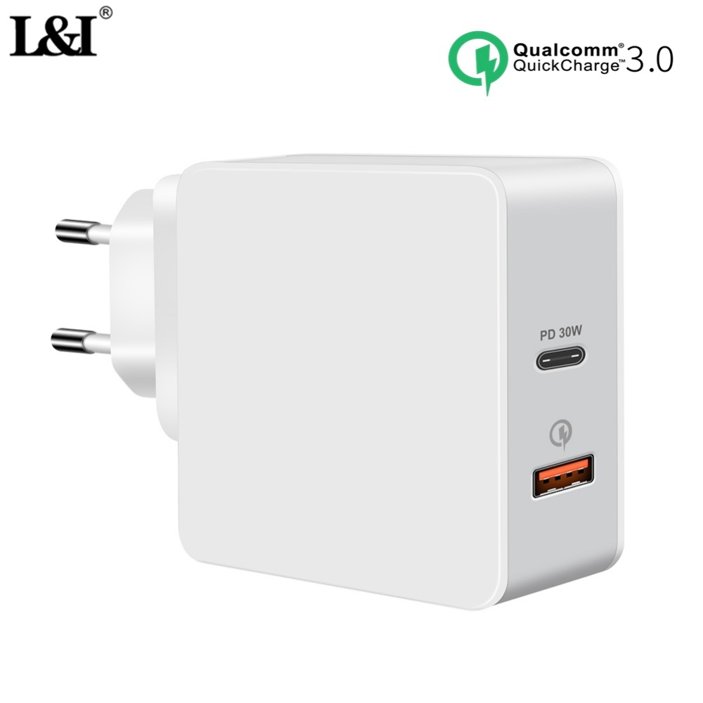 l i pd 2 0 usb c charger 30w qc3 0 usb c power delivery quick usb wall charger for iphone for. Black Bedroom Furniture Sets. Home Design Ideas