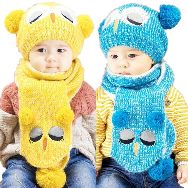Fashion 2 pezzi set Cappello Sciarpa Del Modello Del Gufo Bambini Berretto  Invernale per Ragazze 8b87c0a75f64