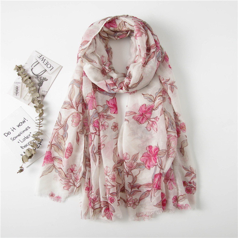 Women Floral Pattern Cotton Fringe Scarf 10PCS/LOT