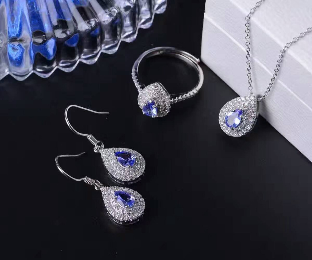 все цены на Natural blue tanzanite gem jewelry sets natural gemstone Pendant ring Earrings 925 silver Water drop women party fine jewelry