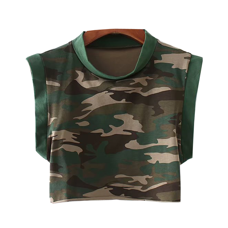 Tank-Top Green Short Crop Loose Casual Women Amry Lenght High-Street Camouflage