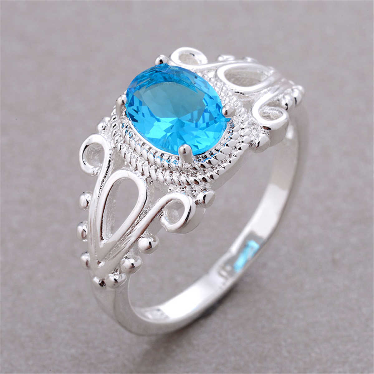 Sky Blue Stone Rings For Women Wedding Engagement Ring October