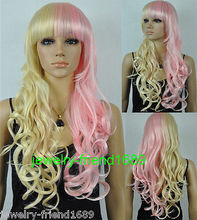 Wholesale heat resistant LY free shipping New wig Cosplay Long Curly Blonde Pink Mixed Wig