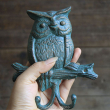Primitive Heavy Cast Iron - Owl Double Hook Hanger Setting On a Tree Branch Design Hooks (Wall Hung Rustic