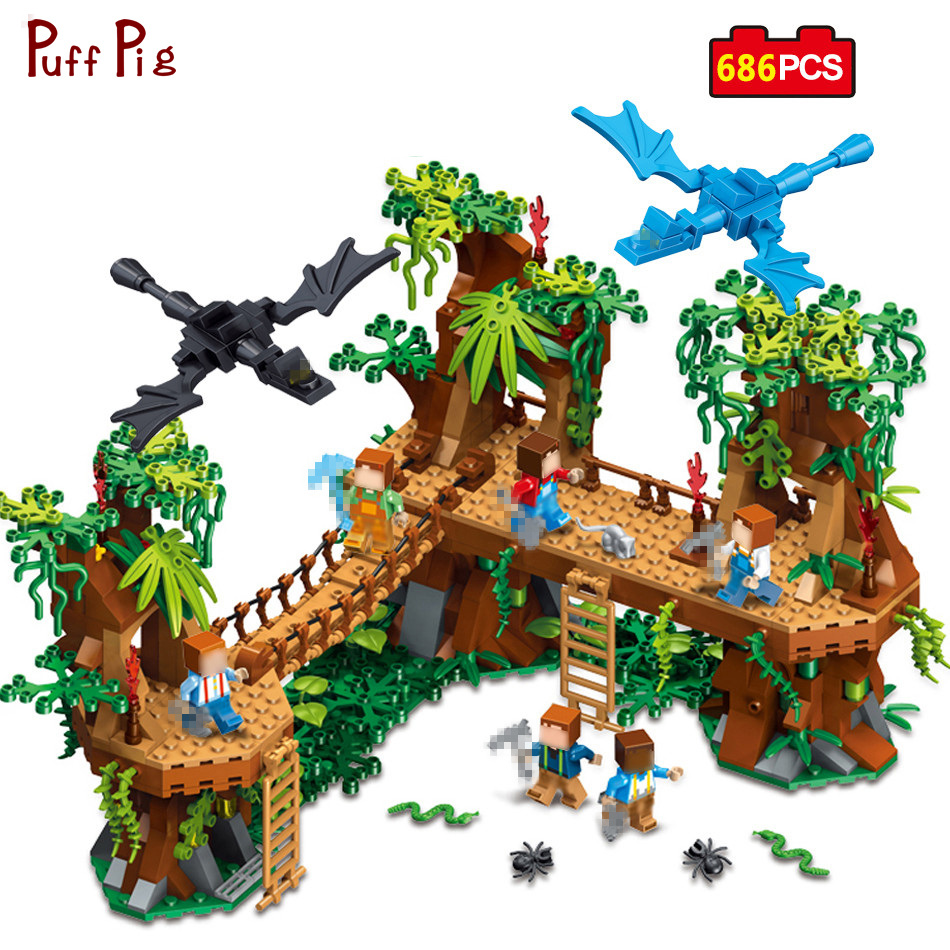 686pcs My World Minecrafted Village Forest Castle Model Building Blocks Compatible Legoe Minecraft City Toy Xmas Gift For Child цена