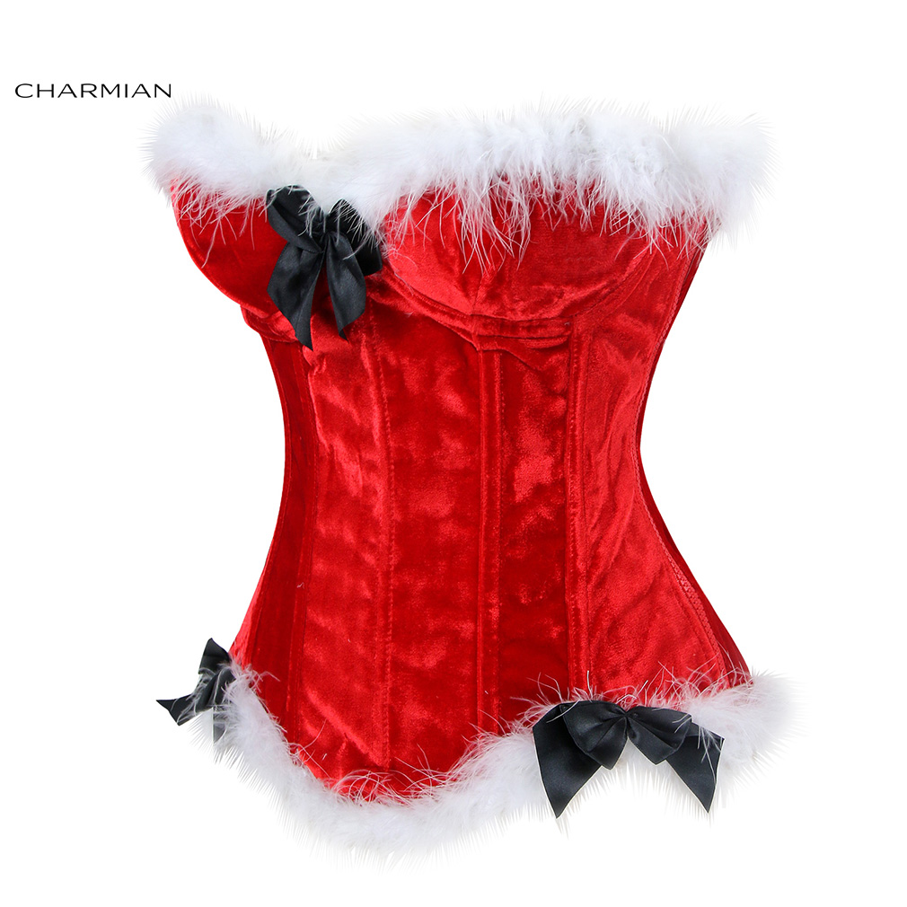 bdf057410d Charmian Women s Sexy Christmas Corset Santa Claus Red Velvet Overbust  Corsets and Bustiers Underwire Cup Body Shaper-in Bustiers   Corsets from  Underwear ...