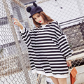 2016 Winter New Pregnant Women Clothes Korean Striped Long Sleeved Cotton Loose Maternity Bat Shirt Female Large Size Sweater