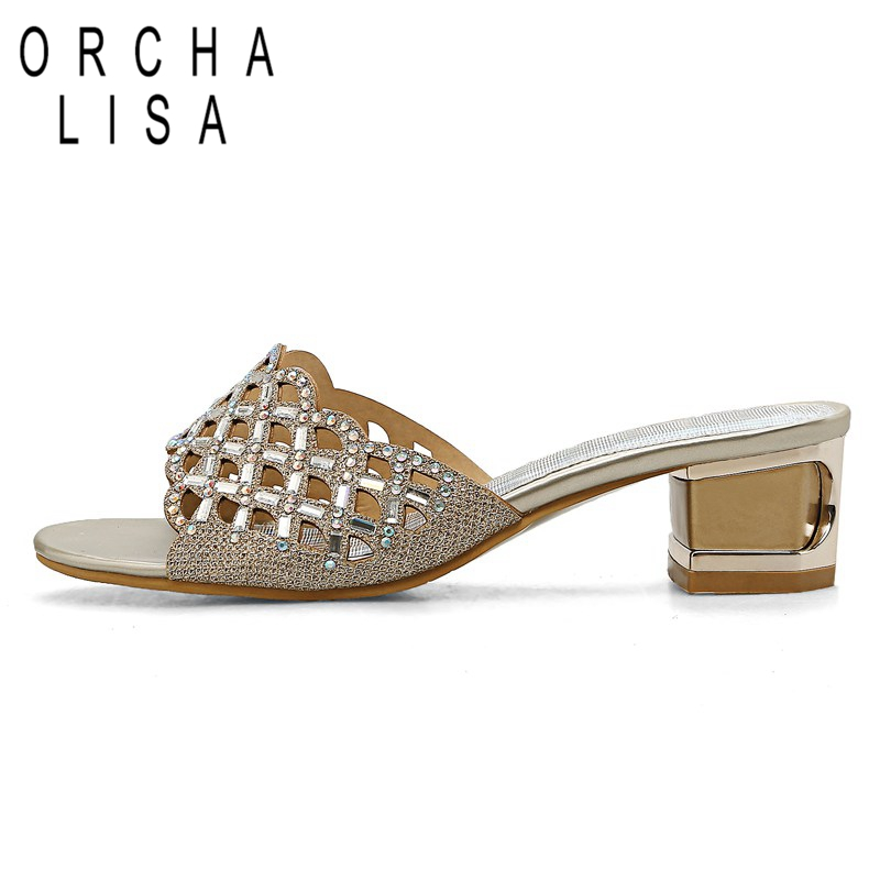 ORCHA LISA 2018 New Summer sandals Flip flop Mid heels Rhinestone Glitter  Women shoes Gold Silver Large size 32 45 Fashion C274-in Middle Heels from  Shoes ... 23c3a0247d22