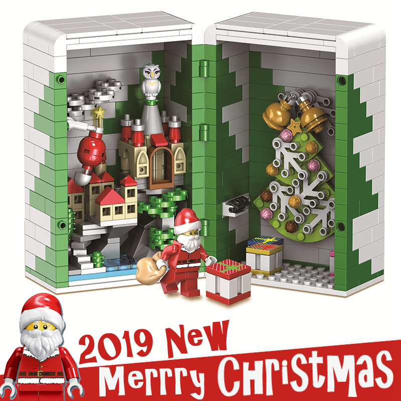 2019 New Chinese Christmas designer legoings Winter City Train Box Building Blocks Bricks Parts Advent Calendar Girls Boys Toys