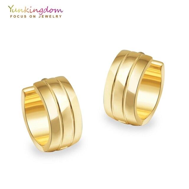 Yunkingdom Punk Hip Hop Hoop Earrings For Women Tungsten Steel Earring Fashion Round Ue0031