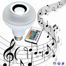 Free shipping Wireless 12W Power E27 LED rgb Bluetooth Speaker Bulb Light Lamp Music Playing & RGB Lighting with Remote Control honsco bluetooth v3 0 speaker e27 rgb 9w led bulb music lamp w remote controller ac 90 240v