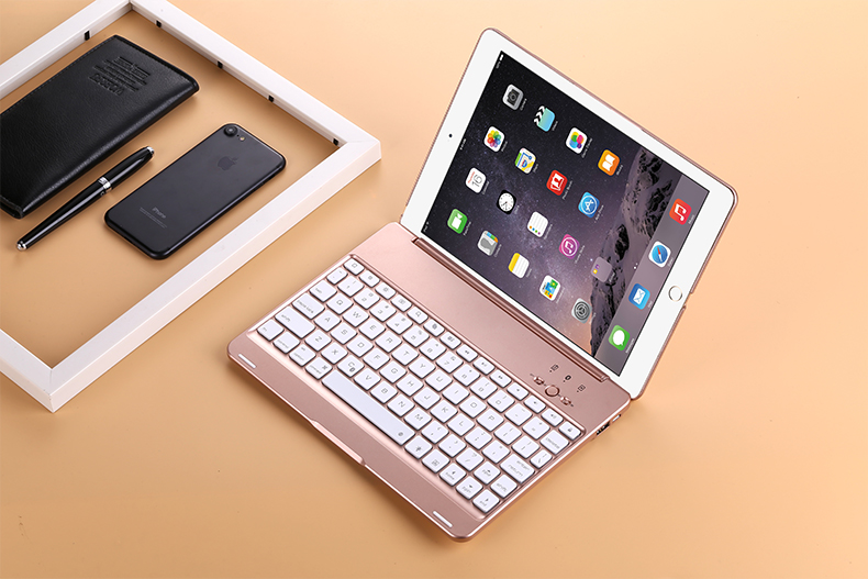 GrassRoot Wireless Bluetooth Aluminum Keyboard Case For IPAD Air2 Pro 9.7 inch Keyboard 7COLOR Backlit Folio Cover aluminum keyboard cover case with 7 colors backlight backlit wireless bluetooth keyboard