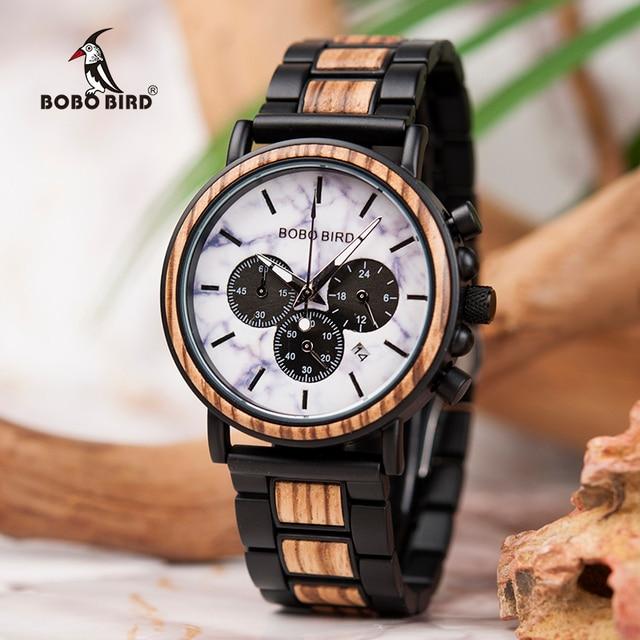 relogio masculino BOBO BIRD Watch Men Luxury Stylish Wood Watches Timepieces Chronograph Military Quartz Mens Gift