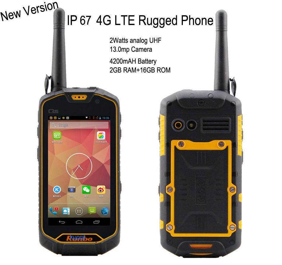 Runbo Q5 VHF/UHF Двухканальные рации смартфон <font><b>IP67</b></font> Водонепроницаемый 4 г LTE 4.5 дюймов конуса 2 ГБ Оперативная память/16 ГБ Встроенная память 13.0mp GPS/ГЛОНА&#8230;