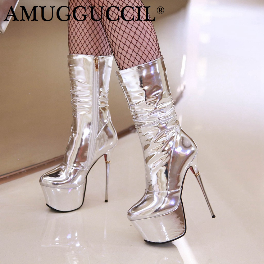 a40d65f287e 2019 New Plus Big Size 32-43 Silver Zip Fashion Sexy 16CM High Heel  Platform Females Lady Calf Autumn Winter Women Boots X1787
