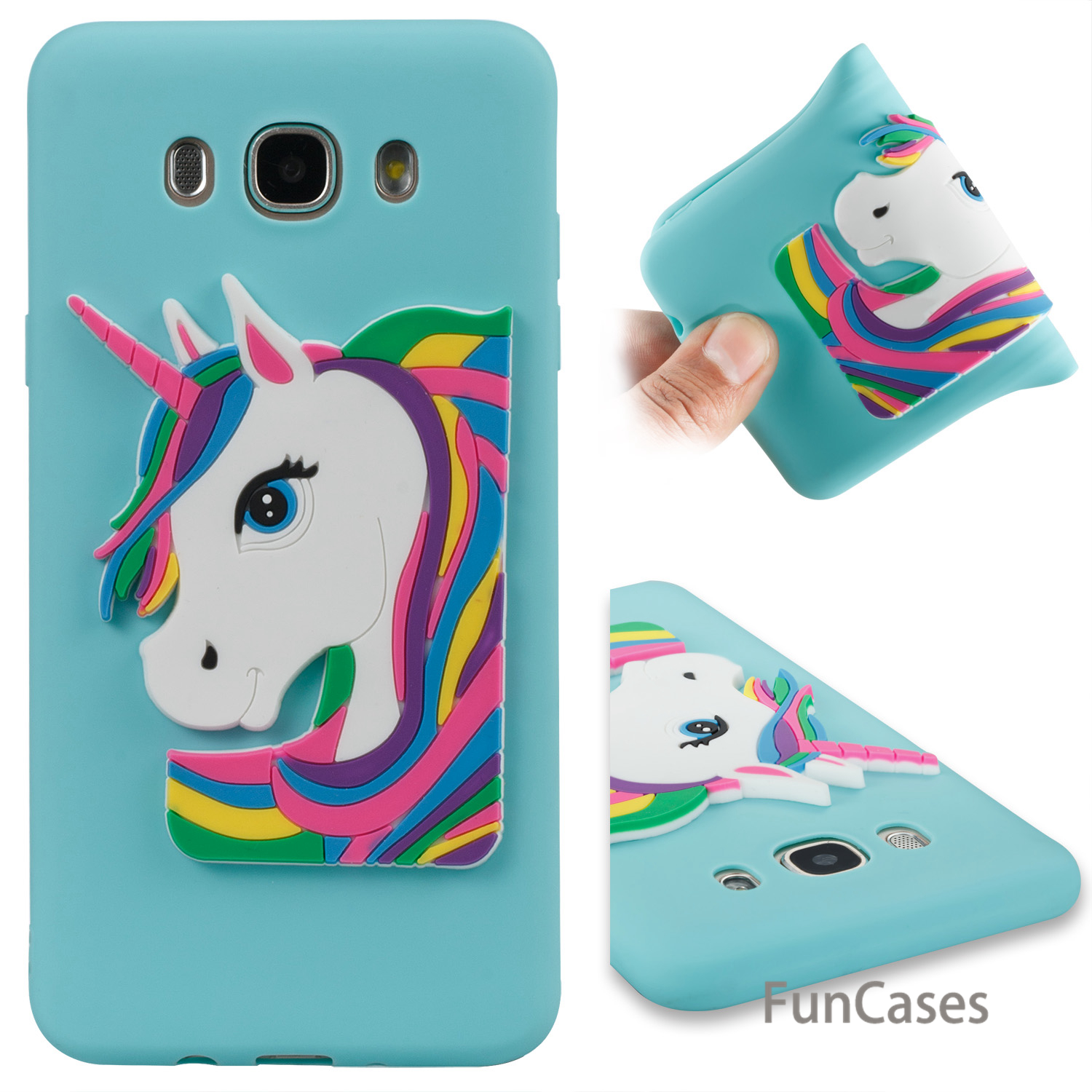 3D Unicorn Case sFor Coverage Samsung J710 Soft Silicone Back Cover Estojo Floral Telefon Aksesuar Case Samsung Galaxy J7 2016