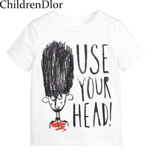 Летняя одежда 2017 бренд футболки унисекс для девочек детские топы для маленьких мальчиков футболка детская одежда короткие Футболка для мальчиков письмо печати