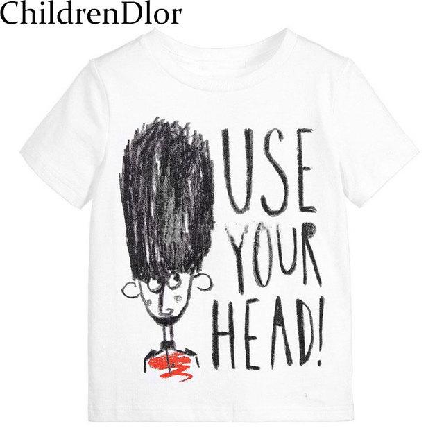 Roupas de verão 2017 Da Marca Tshirt Unisex Menina Crianças Encabeça Criança meninos T Shirt Crianças Roupas Meninos Camiseta Carta Curta impressão