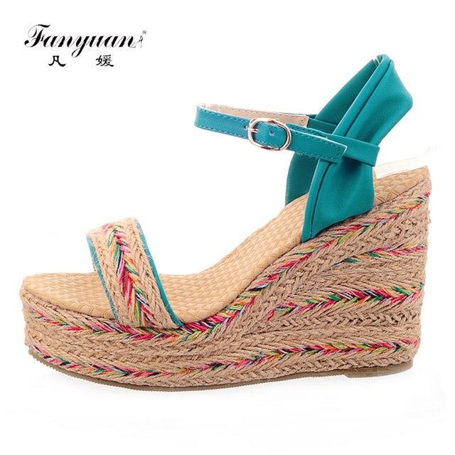 828e8ae26123 Fanyuan Plus Size 31-47 Women Summer High Heels Sandals Fancy Cane Heel  Ladies Platform Wedges Sandals Casual Womens Sandals