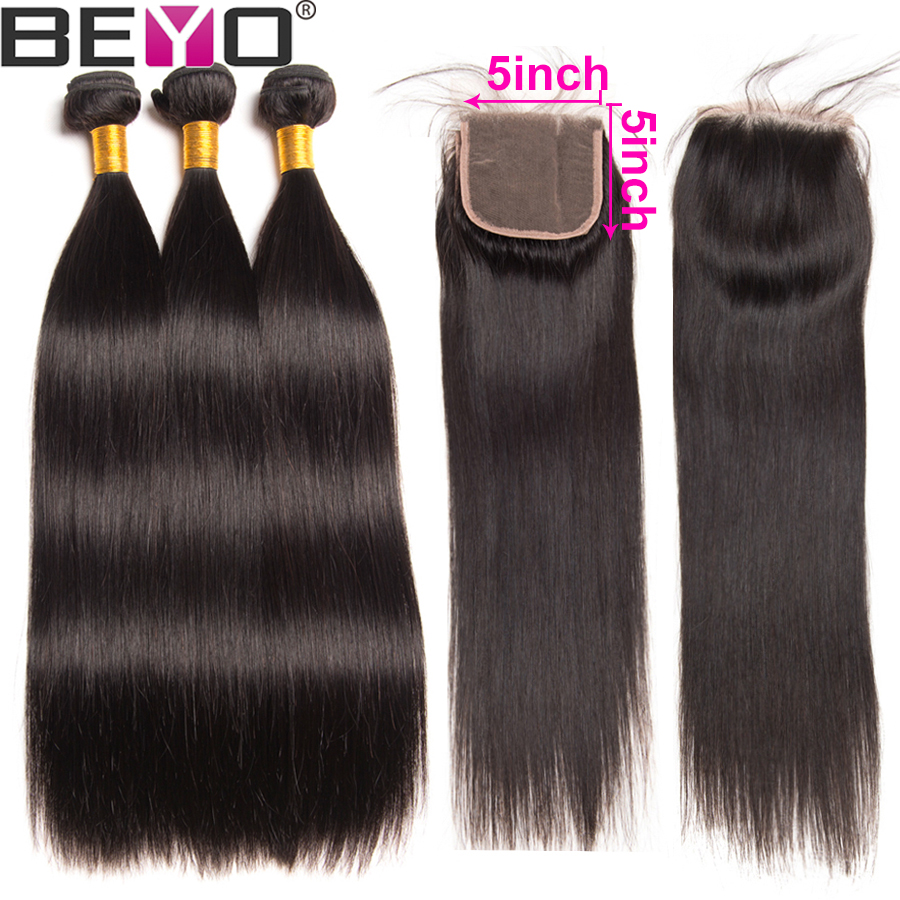 Peruvian Straight Hair Bundles With Closure 3 Human Hair Bundles With Closure 5x5 Lace Closure With