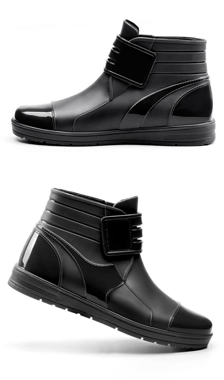 HTB11vxsB2iSBuNkSnhJq6zDcpXaV - Dwayne 2018 Fashion PVC Waterproof RainBoots Waterproof Flat Shoes Men Black Rainboots Blue Rubber Ankle Boots Buckle Botas