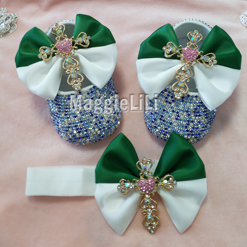 emerald bowknot Custom Sparkle Bling crystals Rhinestones Baby girls shoes infant 0-1Y ribbon shoes First Walkers hairband 3184
