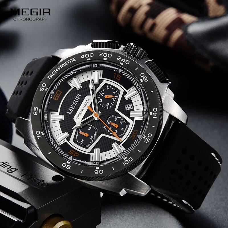 Men's Silicone Sports Quartz Wrist Watches Army Military Clock Chronograph Stop Watch Man Relogios Masculino 2056GS BK 1|Quartz Watches| |  -