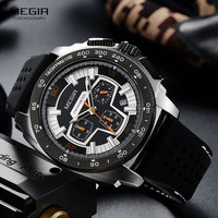 Men's Silicone Sports Quartz Wrist Watches Army Military Clock Chronograph Stop Watch Man Relogios Masculino 2056GS BK 1|Quartz Watches| |  -