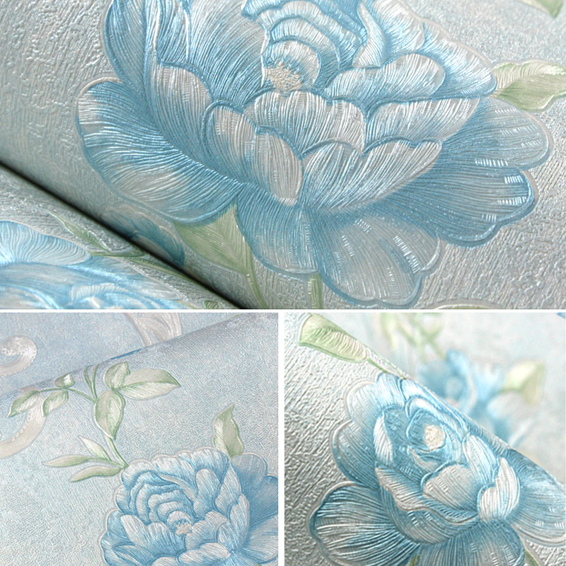 Rustic Vine Flower 3D Wall Paper Embossed Non woven Flower Wall Paper Roll Living Room Wallcovering Wallpaper Floral papel pin in Wallpapers from Home Improvement