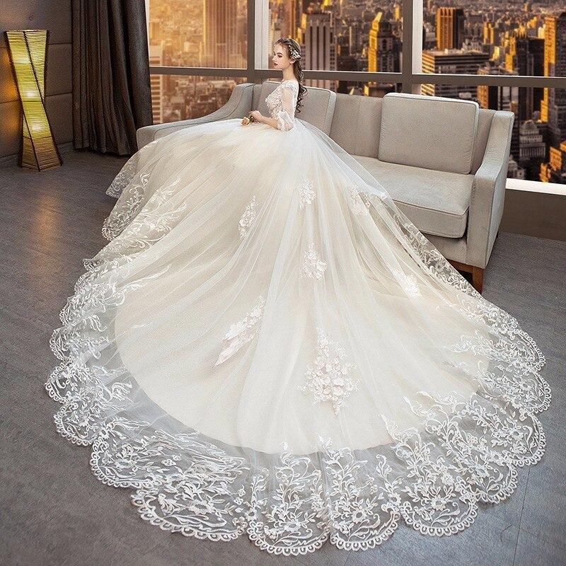 Vestido de Noiva de lujo del Vestido de bola del tren largo vestidos ...