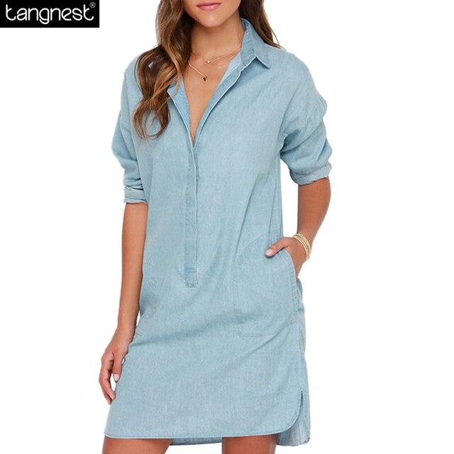 Tangnest vintage solid denim dress 2017 verano atractivo de la playa vestidos de verano casual jeans rectos azules jurken plus tamaño wqs1742
