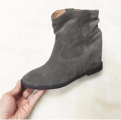 2018 Fashion Rome Slouchy Brushed Suede Women Ankle Boots Concealed Wedge Slip On Cowboy Boots Fall Winter Boots Shoes Woman