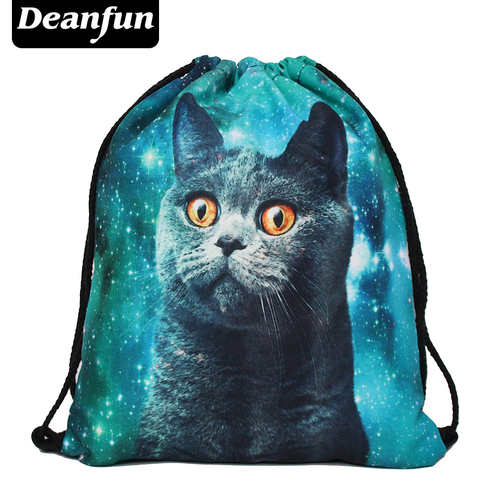 Deanfun women backpack printing bag for picnic mochila feminina harajuku drawstring bag mens backpacks blue cat