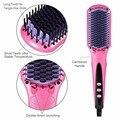Anti static Ceramic Straightening Brush Comb styler hair straightener Pro LCD Heating Electric Ionic Fast Safe Hair Straightener