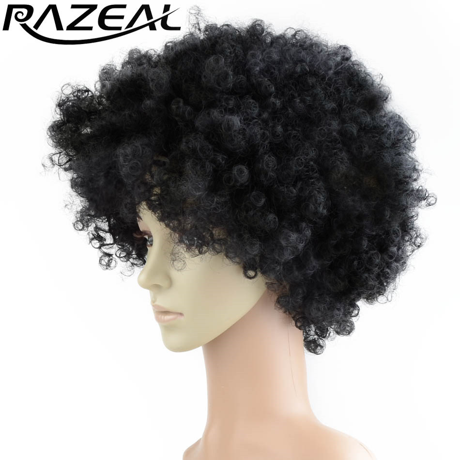 Razeal Afro Kinky Curly Wig 6 Inch 110g Synthetic Short Wigs Africa American free shipping Cosplay wigs