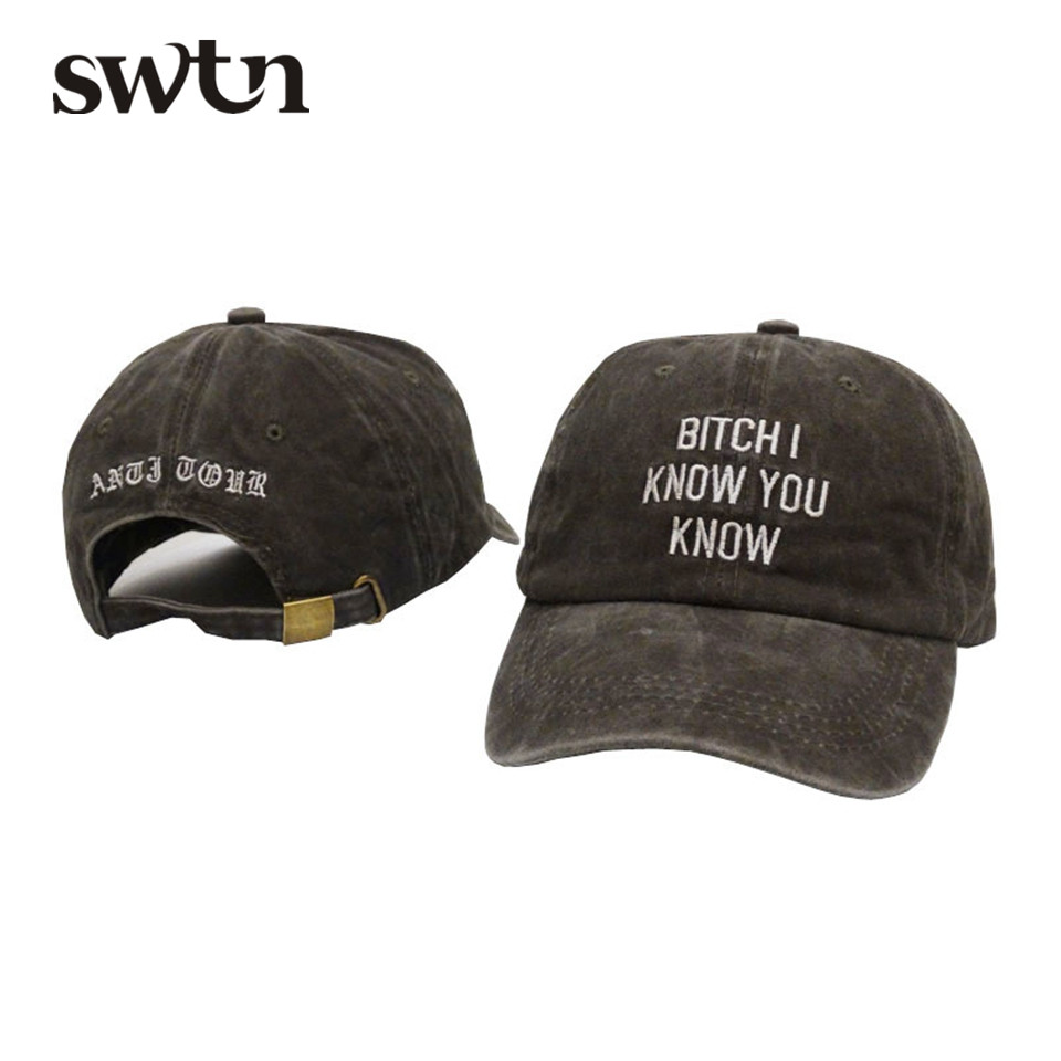 SWTN Baseball Caps Bitch I Know You Know Letter Embroidery Snapback Cap Brand Men Dad Hat female Winter bone masculino купить