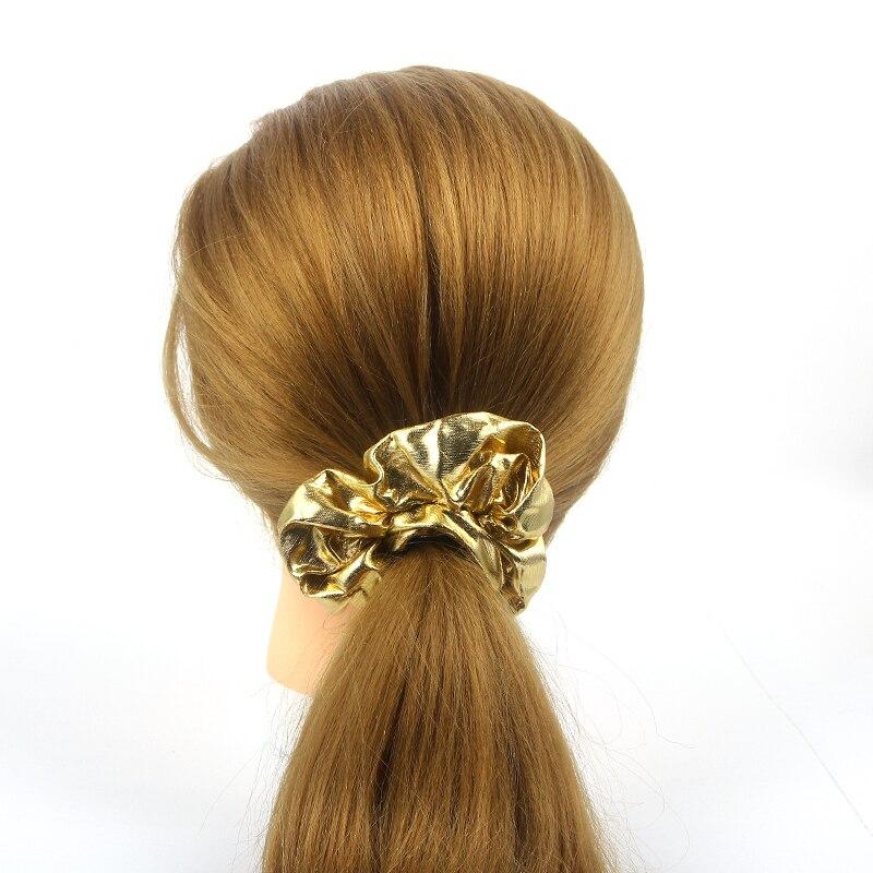 Fashion Women Scrunchie Hair Ties Gold Silver Black Color Elastic Hair Bands for Women Hair Accessories Headwear Hair Holders