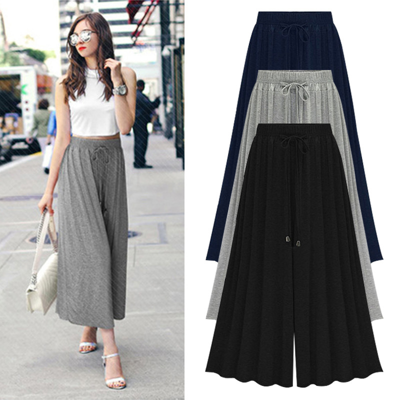 Women Cotton Modal   Wide  -  legged     Pants   Skirt Loose Leisure Pleated Elastic Waist   Pants   Skirtpants Plus Size 5XL 6XL Female Trouser