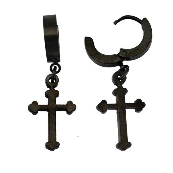 8e77de32b97f Increíble clip de oreja con forma de cruz pendientes body piercing joyería  colgante con acero inoxidable