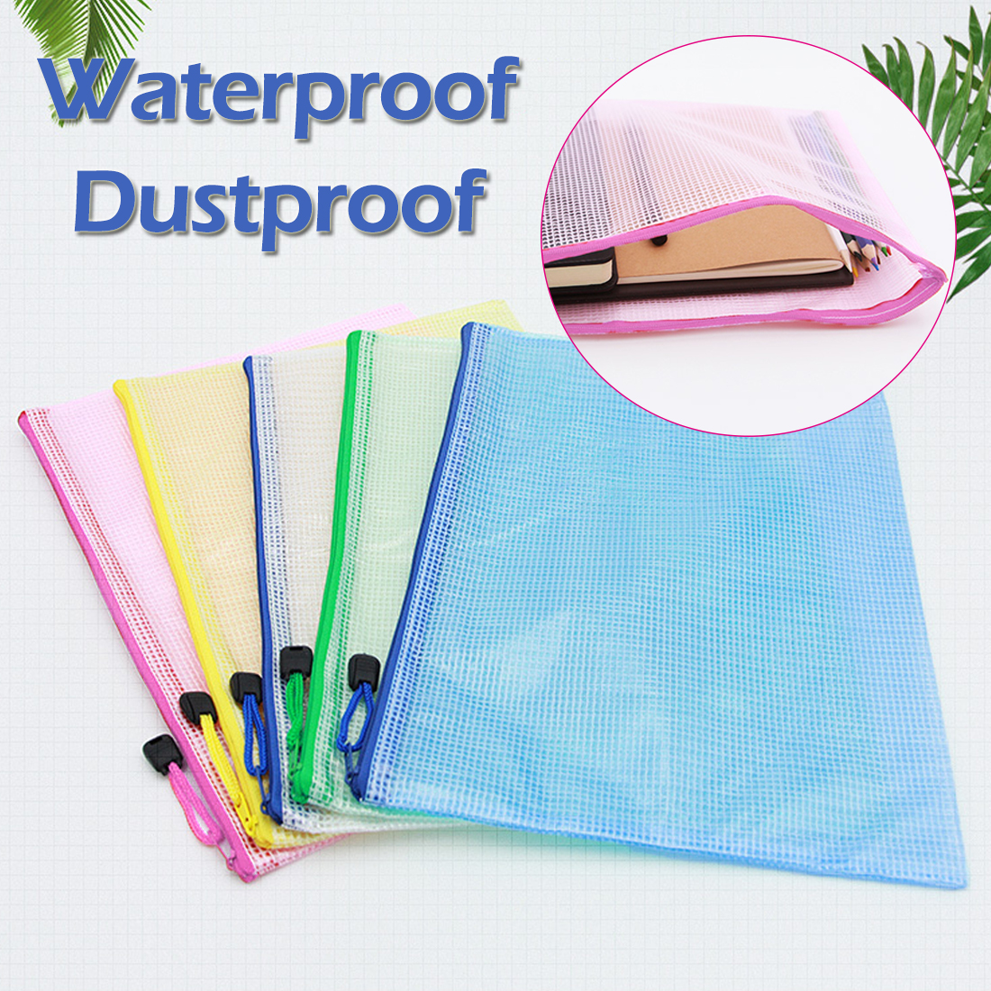 A4 Size Waterproof Plastic Zipper Paper File Folder Book Pencil Pen Case Bag File Document Bag For Office Student Supplies