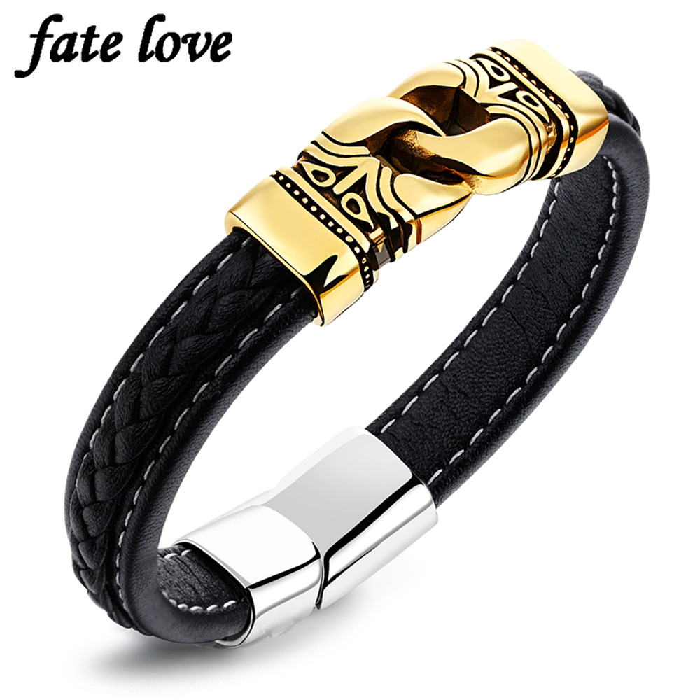Black Leather Bracelet Men Jewelry gold color stainless steel accessories charm bracelets & bangles 2017 new Christmas gifts