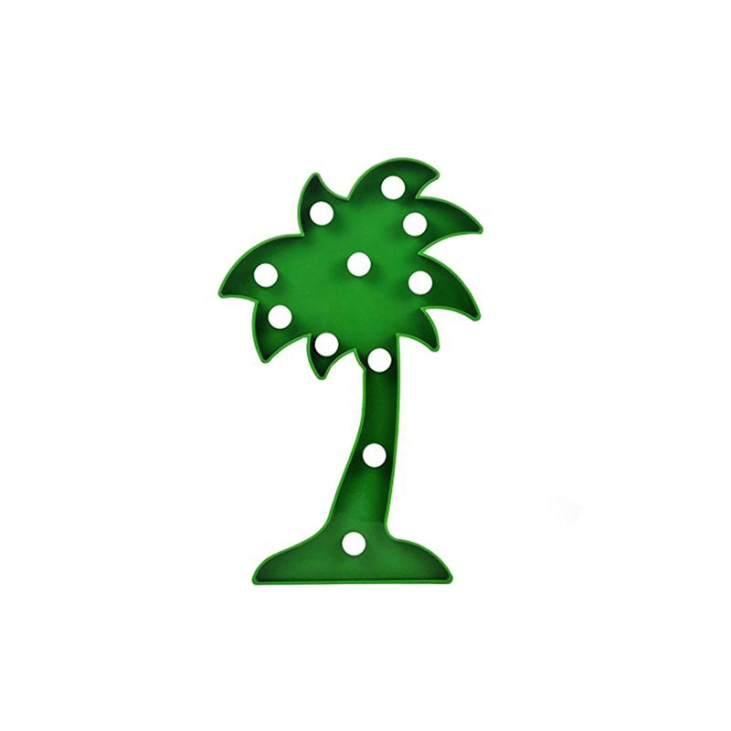 11 LED Hanging Table Adornment Coconut Palm Tree Lights Lamp for Christmas Home Wedding Party Decoration (Green)