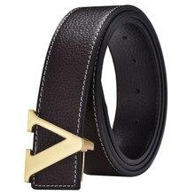 Fashion Designer Cowhide Belt V Smooth Buckle Waist Belts For Men Women Jeans 3.7cm Fashion Strap Genuine Leather Belts