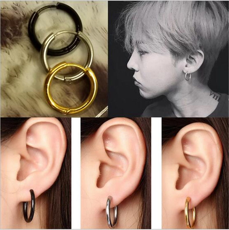 Linsoir 2018 New Gold Black Color Small Hoop Earrings For Women Men Punk Stainless Steel Clip On Piercing Ear Jewelry In From