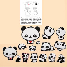 Animal Black White From China Embroidery Patch for Clothing Iron On Embroidered Sew Fabric Badge Garment DIY Apparel Accessories