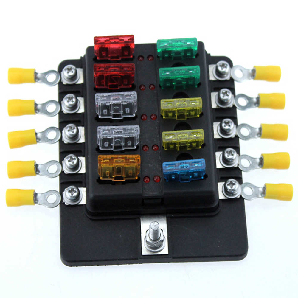 10 way car blade fuse box rv truck marine boat fuse block with fuse spade terminals [ 1000 x 1000 Pixel ]