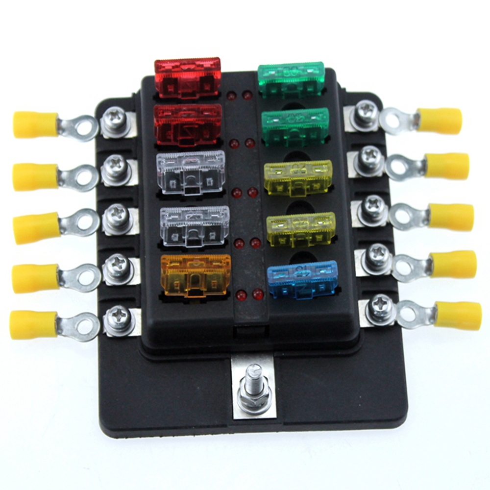 10 Way Car Blade Fuse Box RV Truck Marine Boat Fuse Block With Fuse Spade  Terminals