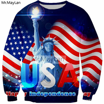 American Flag USA Statue of Liberty 3D Print Sweatshirts Men/women Cool Pullovers Hoodies Boys Long Sleeves Streetwear Clothes