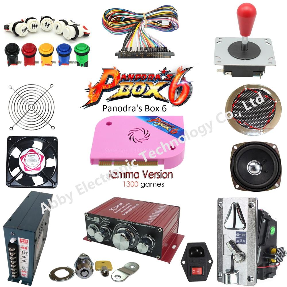 Arcade Joystick DIY Kit Pandora Box 6 Arcade DIY Kit 2 Players joystick with button coin acceptor jamma harness power supply